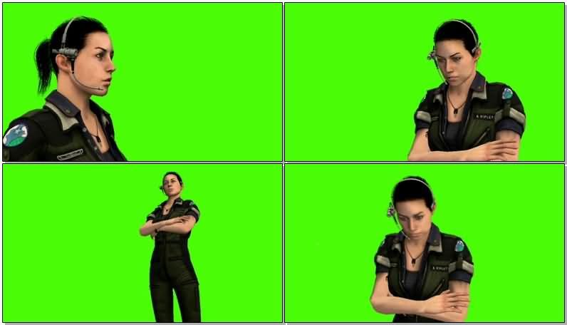 绿屏抠像说对讲机的女警.jpg