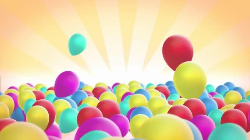 上升的彩色气球视频素材