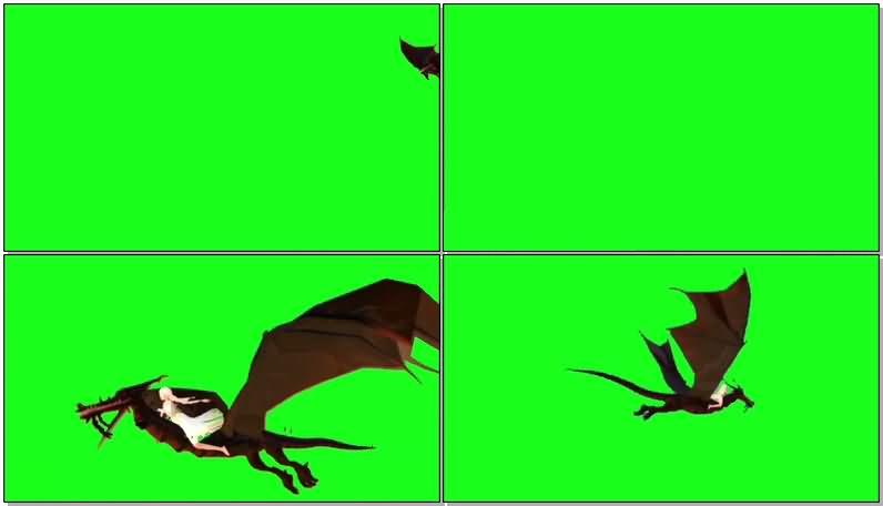 绿屏抠像骑飞龙的女孩视频素材