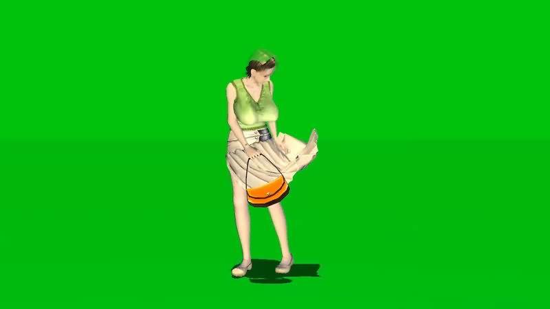 绿屏抠像性感巨乳少妇视频素材