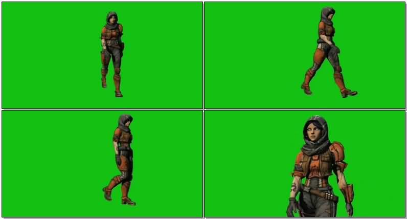 绿屏抠像行走的女战士.jpg