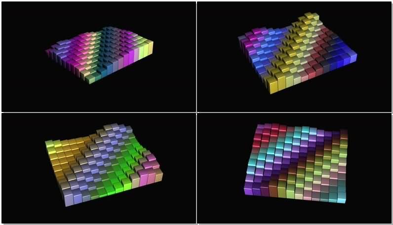 跳动的彩色条形阵列视频素材