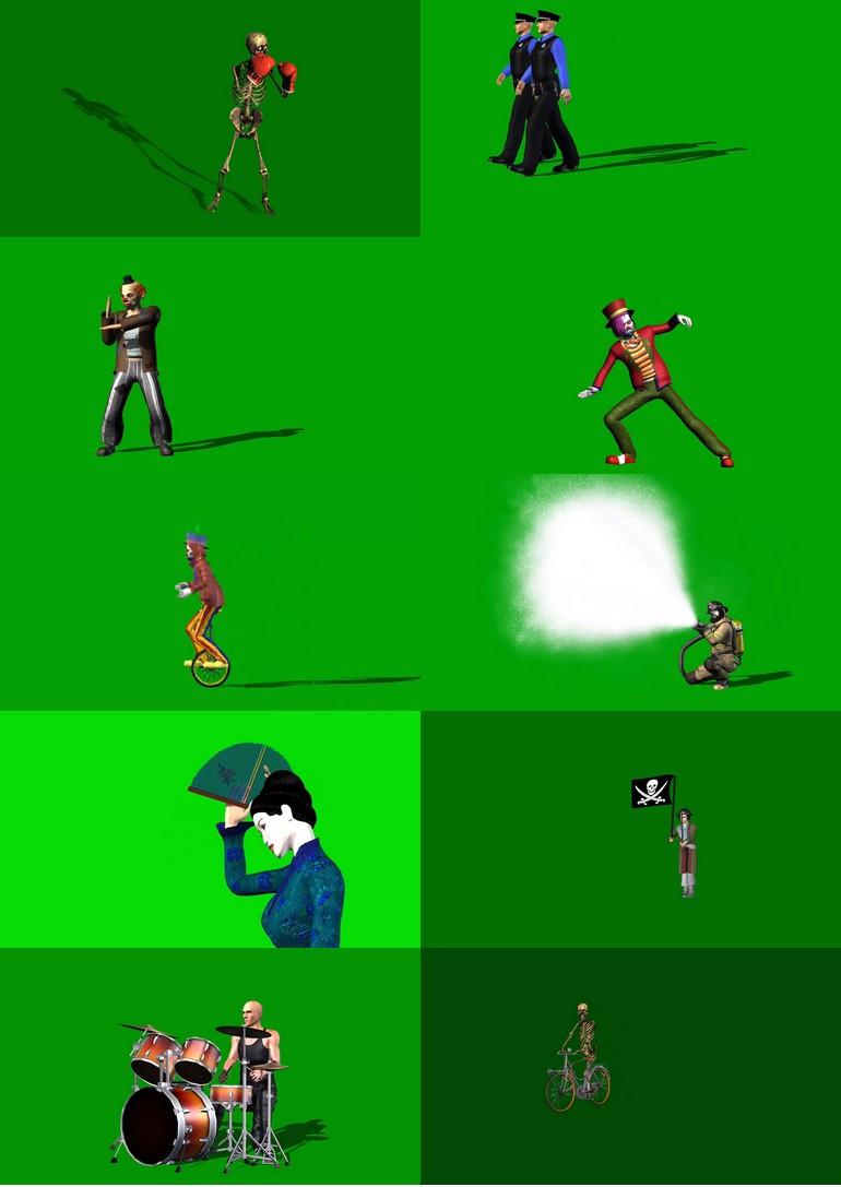 绿屏_绿布_绿幕人物|人像|真人|卡通人物|人群视频素材打包100部第二套