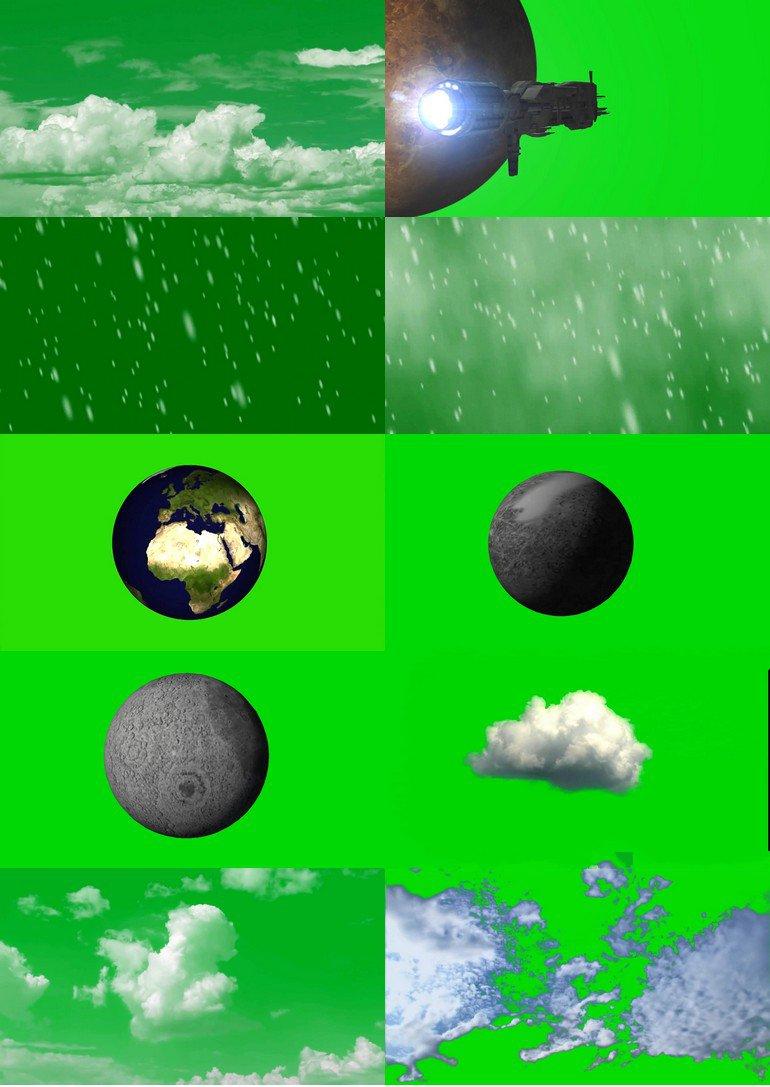绿屏_绿布_绿幕自然风景|下雨|下雪|白云|闪电|宇宙|星球视频素材打包100部第一套