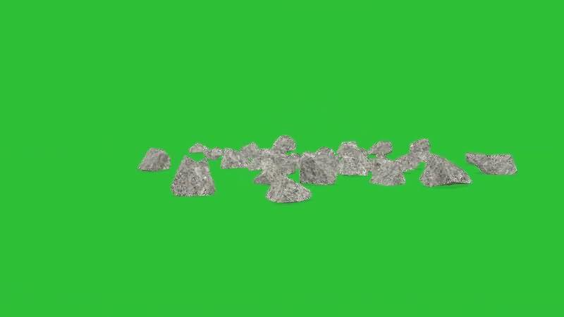 绿屏抠像掉落摔碎的石头视频素材