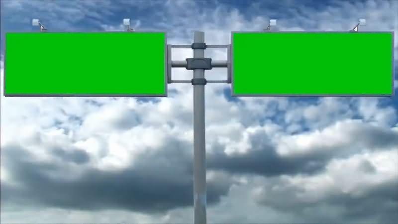 绿屏抠像大型户外双屏幕广告牌视频素材
