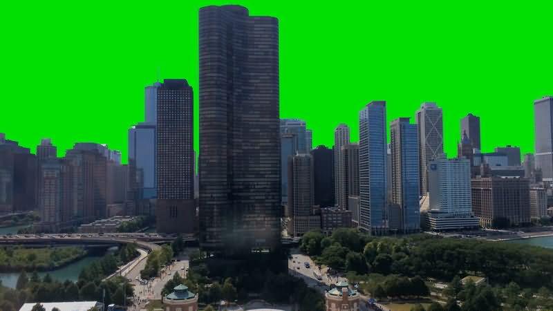 [4K]绿屏抠像城市高楼大厦建筑视频素材