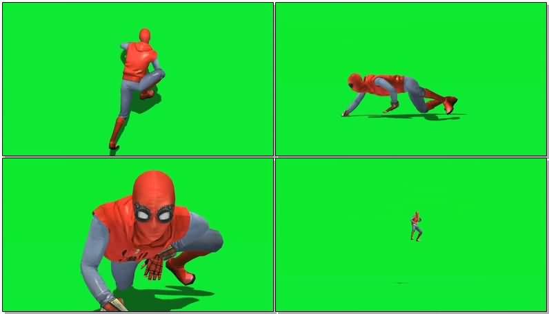 绿屏抠像穿旧式战衣的蜘蛛侠视频素材