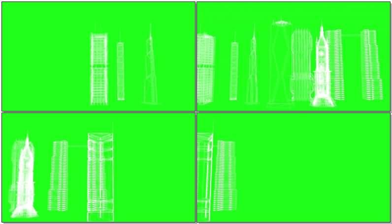 绿屏抠像火箭卫星建筑蓝图视频素材