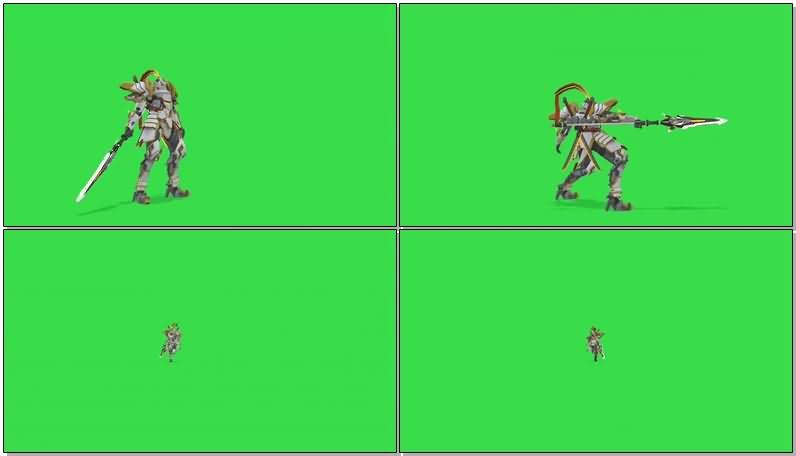 绿屏抠像战斗的高达机器人.jpg