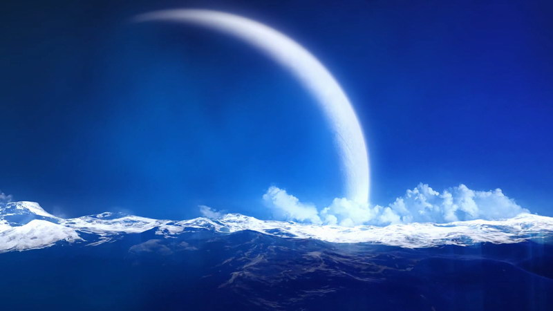 [4K]满月海洋白云风景视频素材