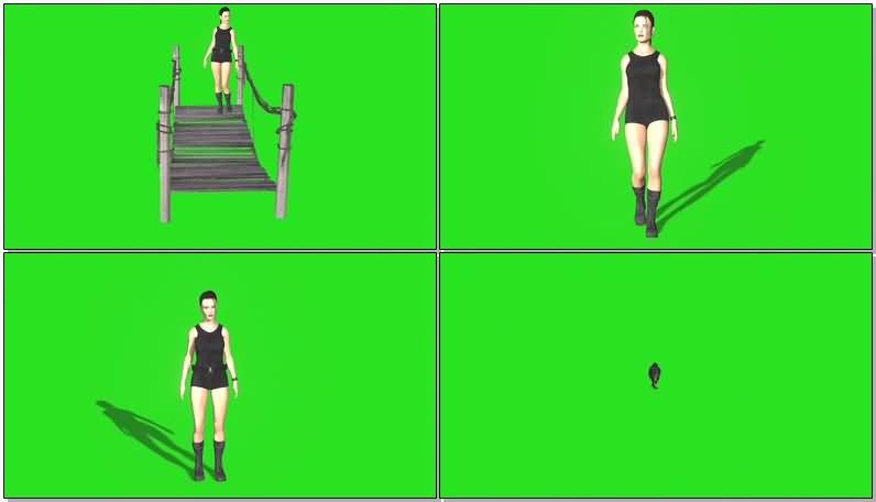绿屏抠像战斗的劳拉视频素材