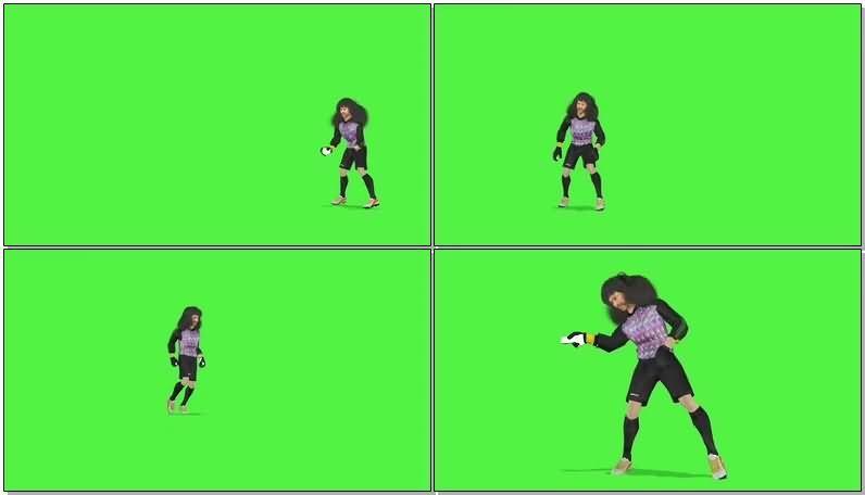 绿屏抠像足球门将伊基塔视频素材