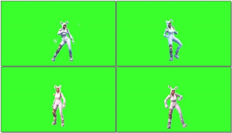 绿屏抠像跳舞的堡垒之夜兔子皮肤视频素材