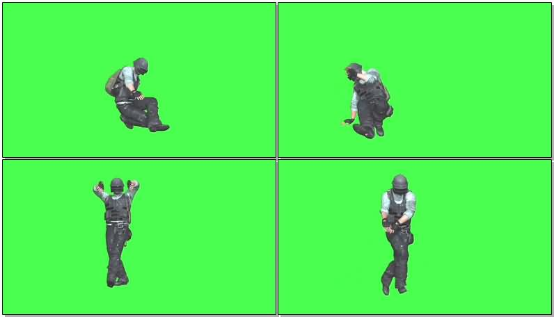 绿屏抠像跳舞的吃鸡游戏人物