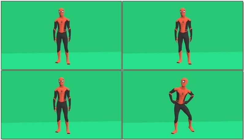 绿屏抠像跳骑马舞的蜘蛛侠视频素材