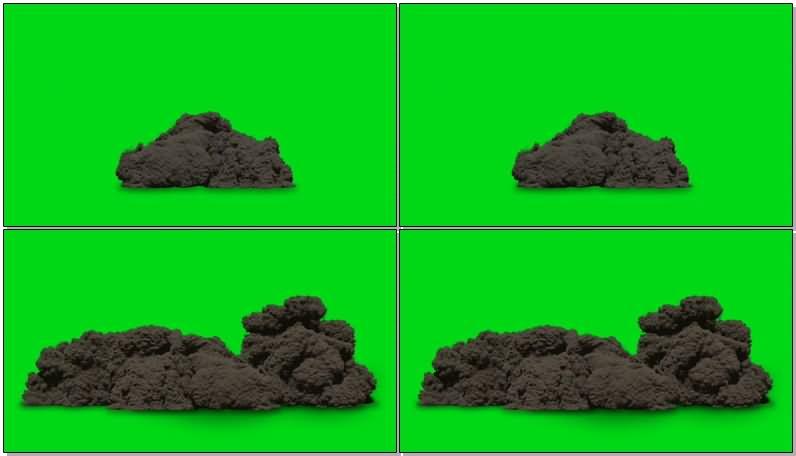 绿屏抠像滚滚黑烟视频素材