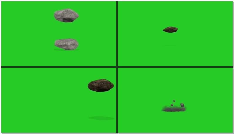 绿屏抠像掉落的碎石块视频素材