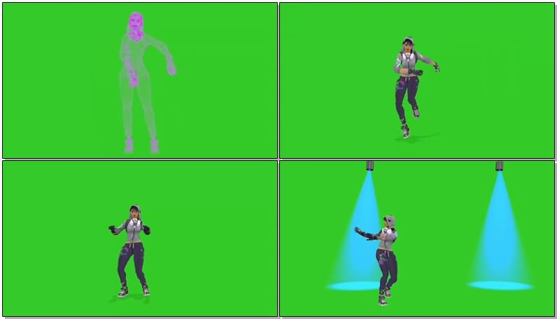 绿屏抠像跳舞的妹子视频素材