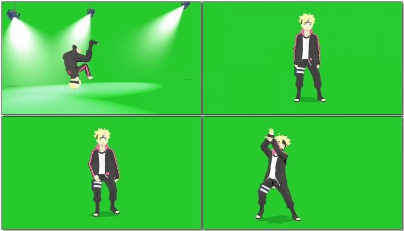 绿屏抠像跳舞的鸣人视频素材