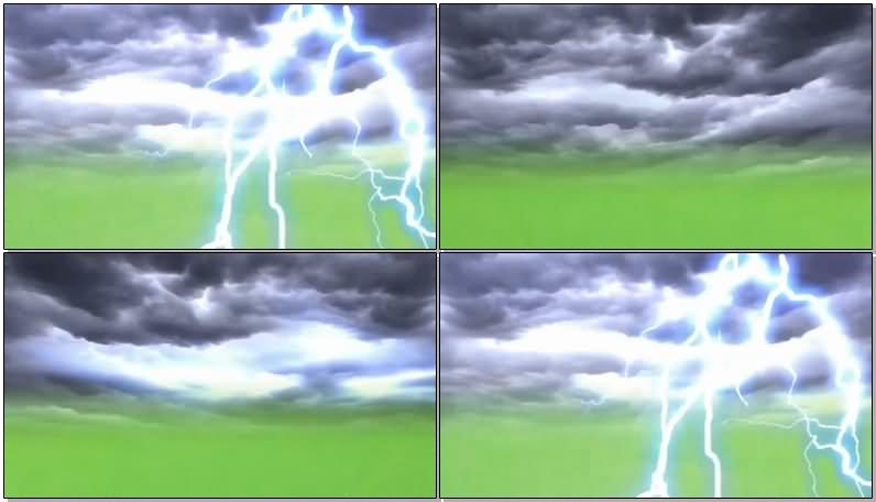 绿屏抠像电闪雷鸣视频素材