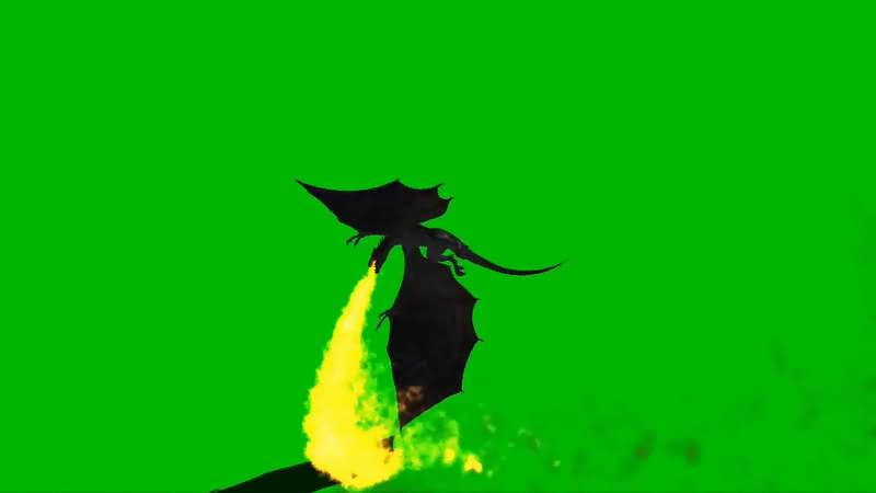 绿屏抠像飞行的火龙视频素材
