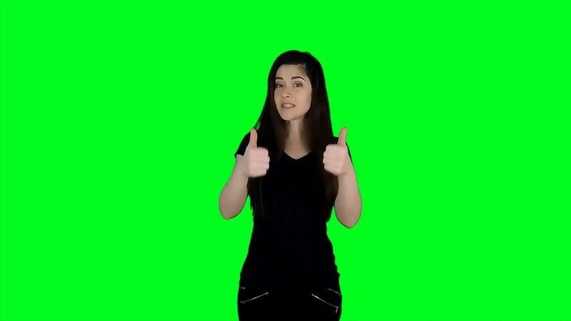 绿屏抠像美女比赞视频素材