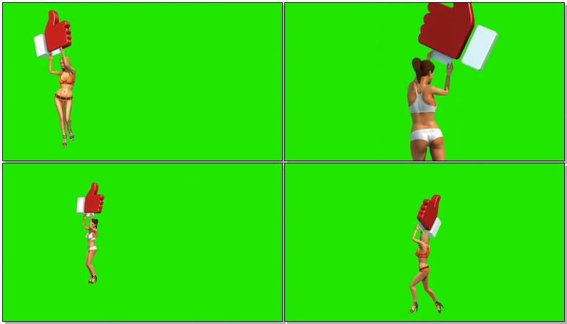 绿屏抠像举牌比基尼美女.jpg
