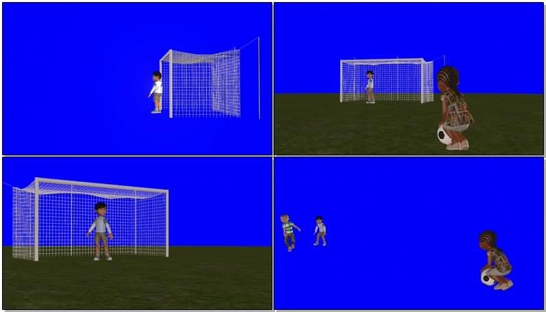 绿屏抠像踢足球的男孩们视频素材