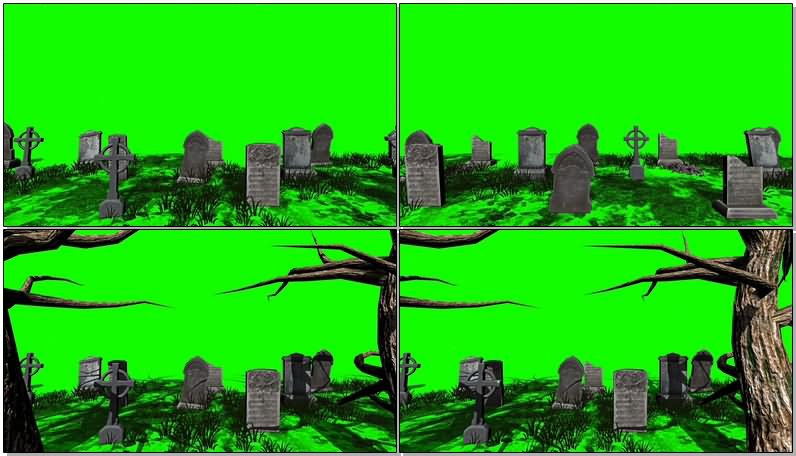 绿屏幕抠像墓地视频素材
