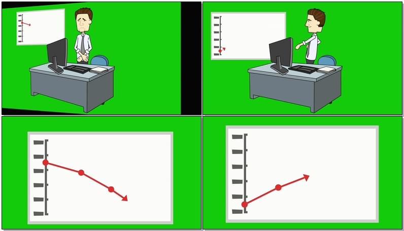 绿屏幕抠像股票K线图视频素材