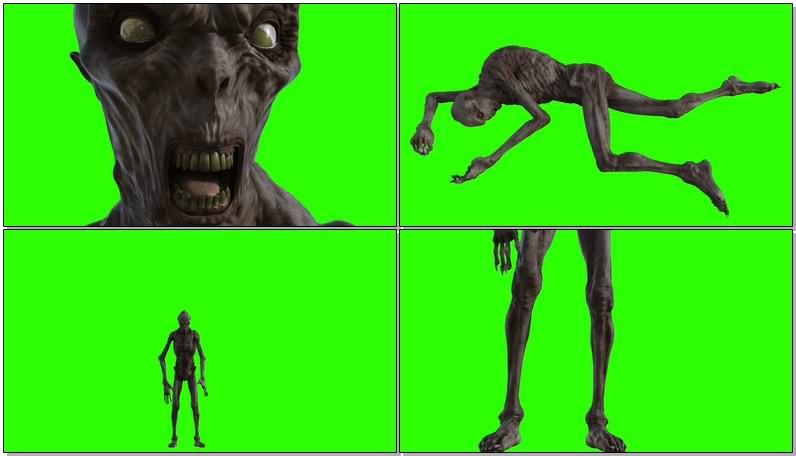 绿屏抠像视频素材僵尸怪物