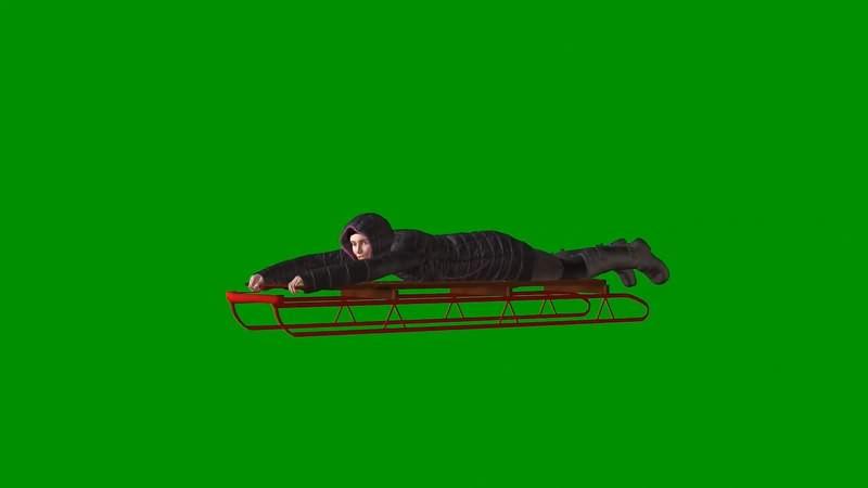绿屏抠像视频素材雪橇女.jpg
