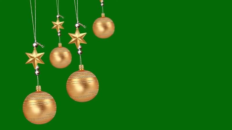 绿幕视频素材圣诞金色挂饰