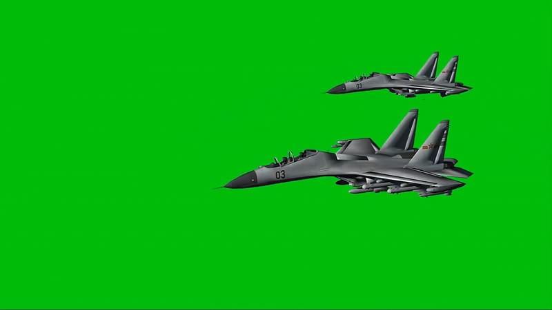 绿幕视频素材战斗机