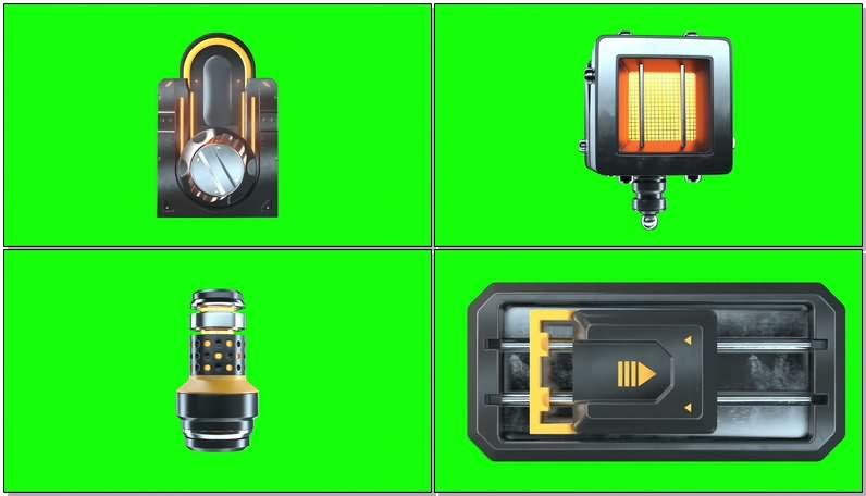 绿幕视频素材机器手臂和零件