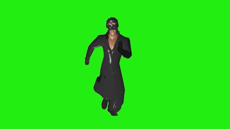 绿幕视频素材黑衣人