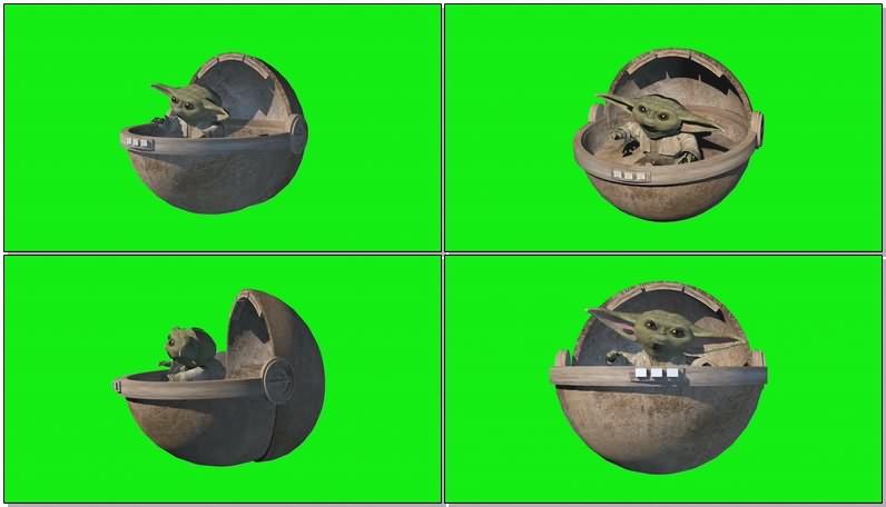 绿幕视频素材婴儿尤达大师