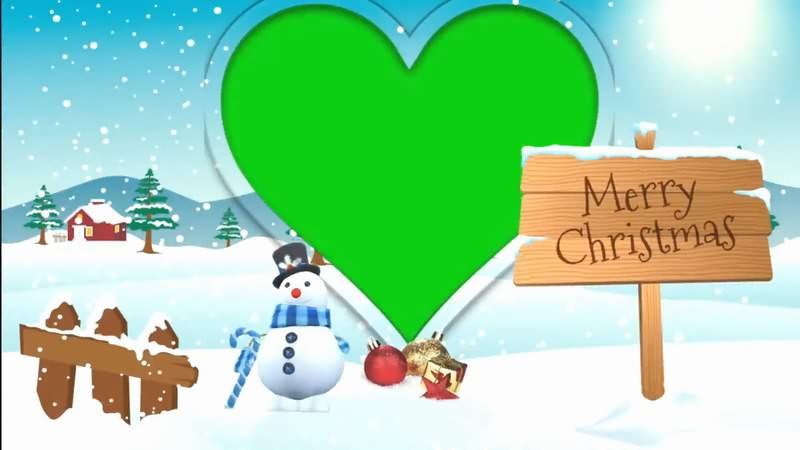 绿幕视频素材圣诞爱心相框