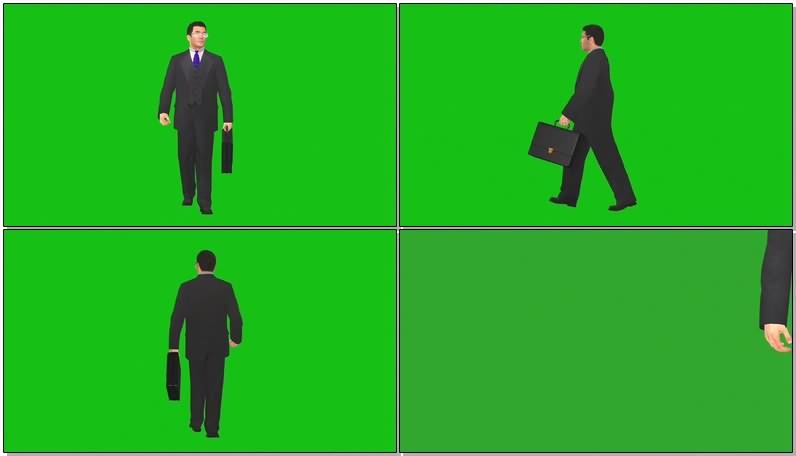 绿幕视频素材走路的商人