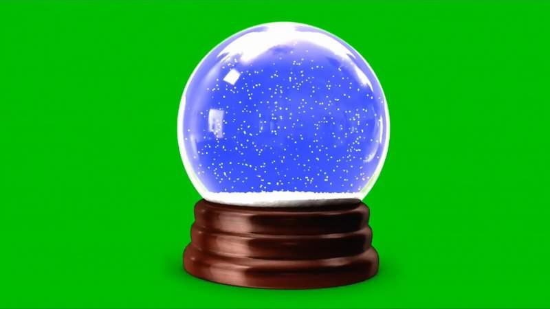 绿幕视频素材下雪水晶球