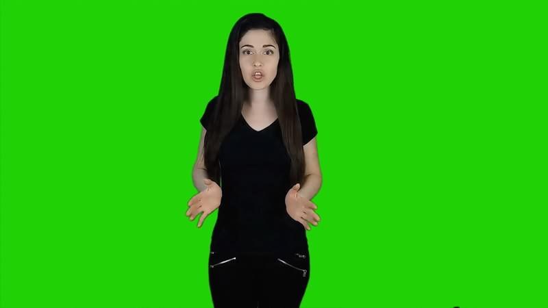 绿幕视频素材吃惊的少女