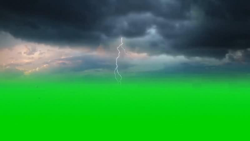 绿幕视频素材乌云闪电