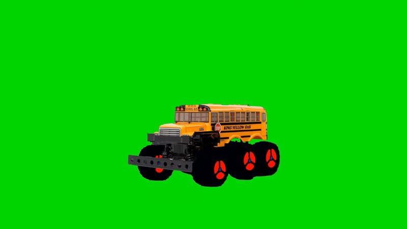 绿幕视频素材玩具校车