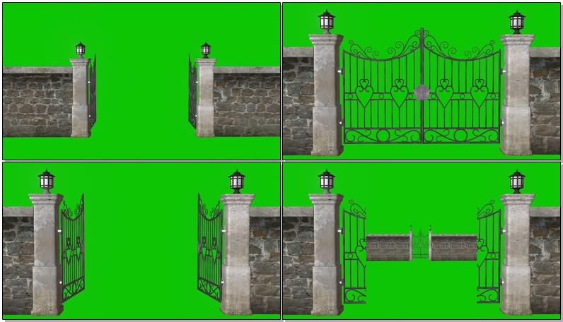 绿幕视频素材铁艺大门