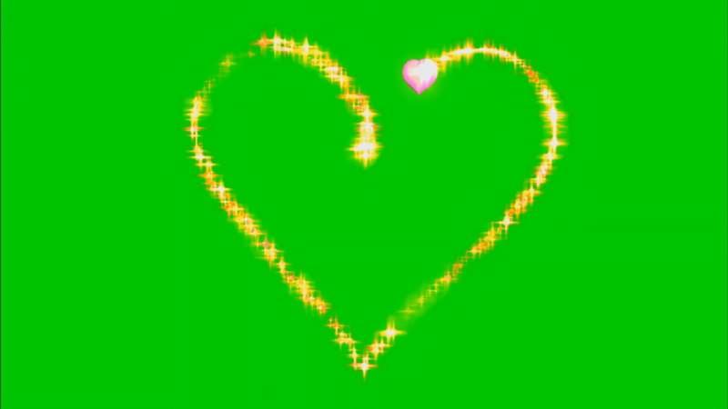 绿幕视频素材光芒爱心