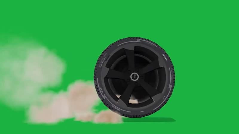 绿幕视频素材轮胎
