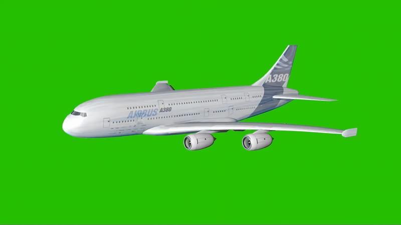 绿幕视频素材A380客机
