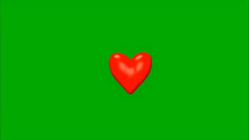 绿幕视频素材红心