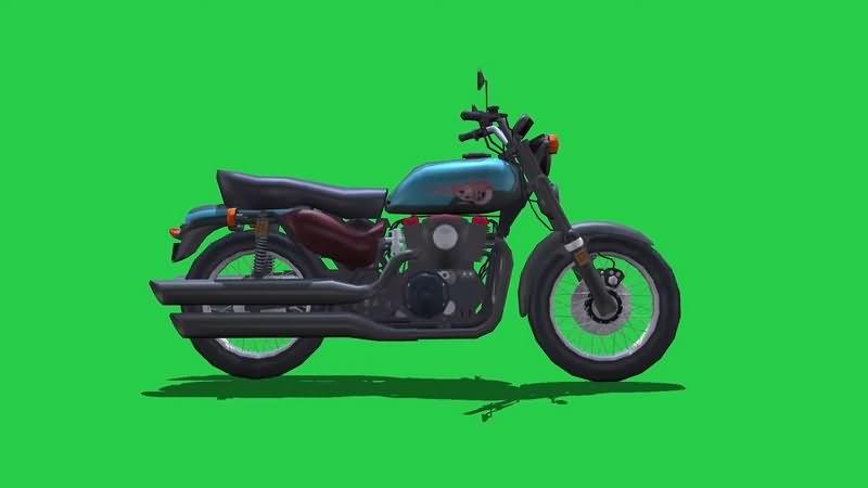 绿幕视频素材摩托车